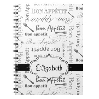 Vintage French Bon Appetit Black and White Spiral Notebook