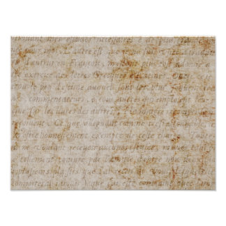 Vintage French Brown Tan Text Old Parchment Paper Photo Print