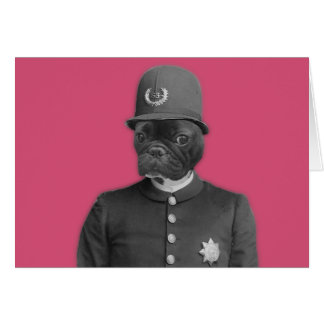 Vintage French Bulldog Policeman Card