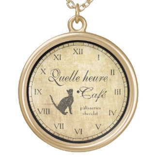 Vintage French Cafe Clock Necklace