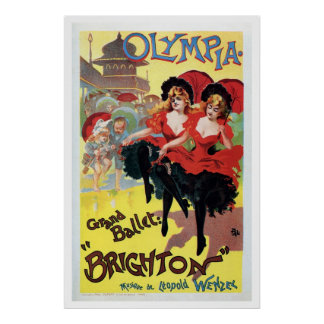 Vintage French can-can (cancan) dance Poster