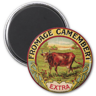 Vintage French Cheese with Dairy Cow Magnet