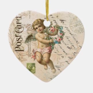 Vintage French Cherub Valentine heart ornament