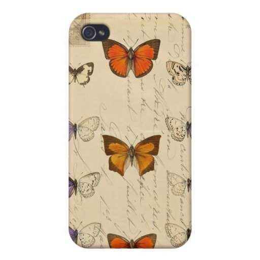 Vintage French Chic Butterflies Pattern iPhone 4/4S Cover