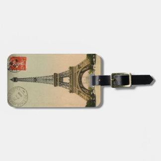 Vintage French Chic Eiffel Tower Paris Postcard Luggage Tag