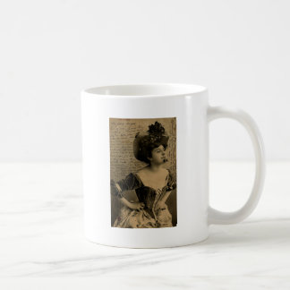 Vintage French Chic French pinup woman Postcard Classic White Coffee Mug