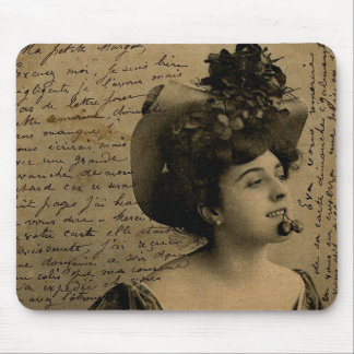 Vintage French Chic French pinup woman Postcard Mouse Pad