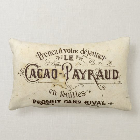 Vintage French Chocolate Lumbar Pillow