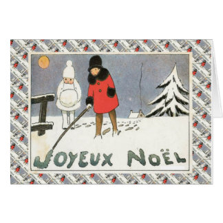 Vintage French Christmas, Children in the snow Greeting Card