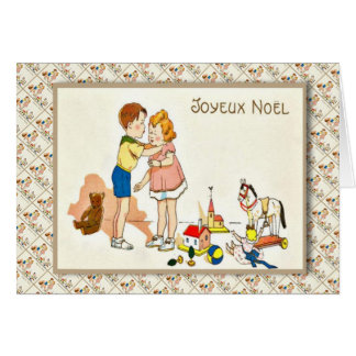Vintage French Christmas, Children kissing Greeting Card