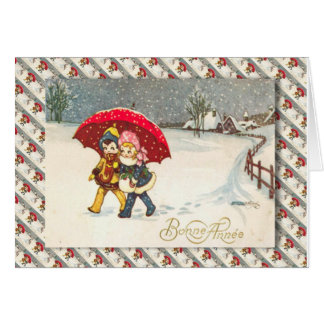 Vintage French Christmas, Children under umbrella Greeting Card