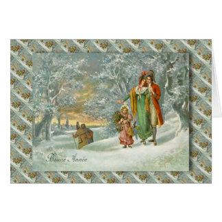 Vintage French Christmas, Family in the forest Greeting Card