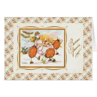 Vintage French Christmas, Snowman and the ladybugs Greeting Card