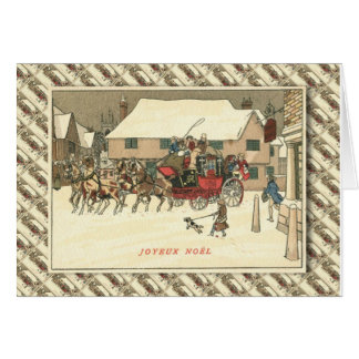 Vintage French Christmas, Stage Coach arrival Greeting Card