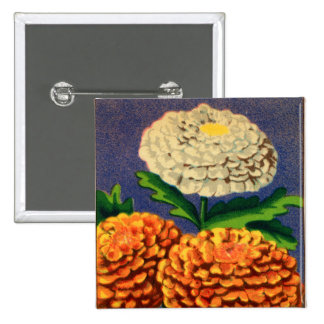 Vintage French Chrysanthemum Flower Seed Package 2 Inch Square Button