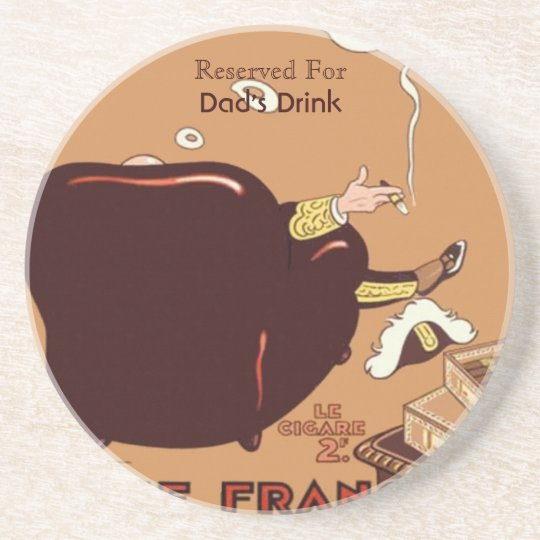 Vintage French Cigar Poster Ad Label  Custom Coaster