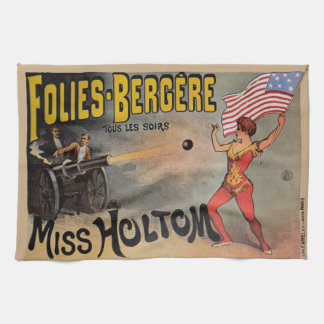 Vintage French Circus Sideshow Poster Kitchen Towel