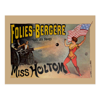 Vintage French Circus Sideshow Poster Postcard