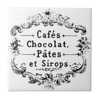 Vintage French Coffee & Chocolate Label Ceramic Tile