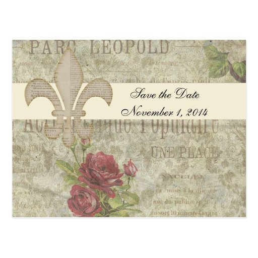 Vintage French Collage Save the Date Post Card