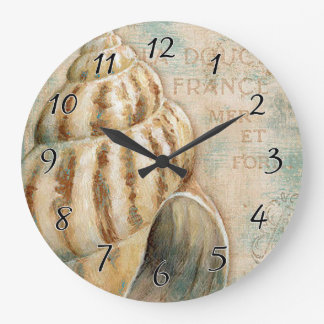 Vintage French Conch Shell Large Clock