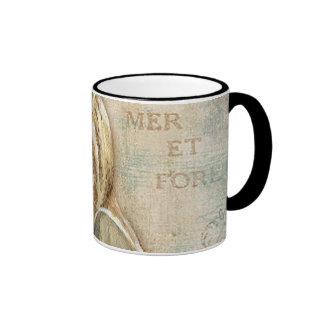 Vintage French Conch Shell Ringer Coffee Mug