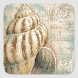 Vintage French Conch Shell Square Sticker