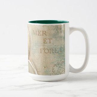 Vintage French Conch Shell Two-Tone Coffee Mug