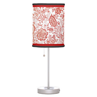 Vintage French Country Decor Red Toile Lamp
