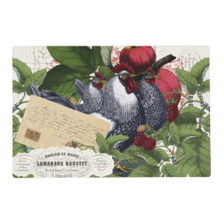 Vintage French Country Kitchen Chickens Collage Laminated Place Mat