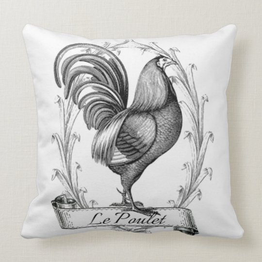 Vintage French Country Rooster Throw Pillow