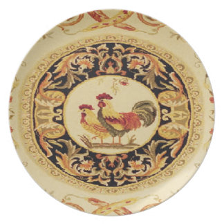 Vintage French Country Roosters Wall Plate