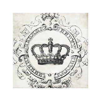 Vintage French Crown stretched canvas