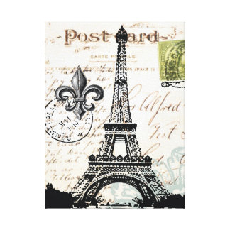 Vintage French Eiffel Tower  stretched canvas