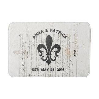 Vintage French Ephemera Fleur De Lis Custom Bath Mat