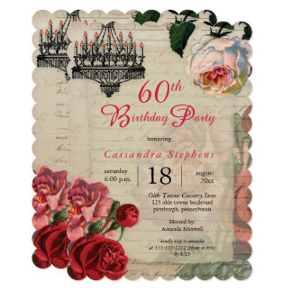 Vintage French Ephemera Floral 60th Birthday Party Card
