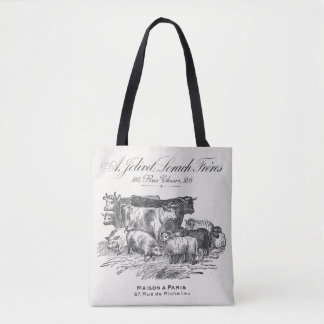 Vintage French farm animals 16x16 tote bag
