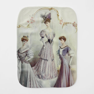 Vintage French Fashion – Gray, Violet Dress Burp Cloth