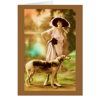 Vintage French fashion model with dog III Card