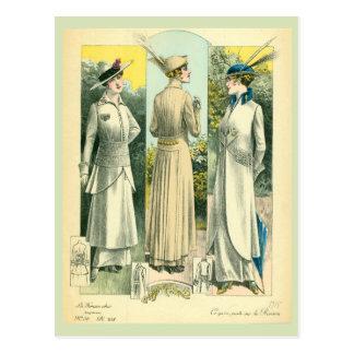 Vintage French Fashion Sketch Postcard