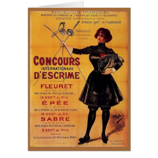 Vintage French Fencing Competition Ad Note Card