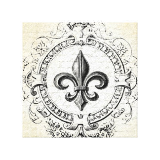 Vintage French Fleur de Lis stretched canvas