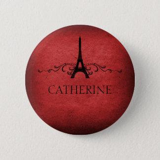 Vintage French Flourish Button, Red 2 Inch Round Button