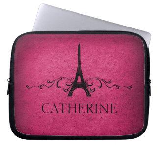 Vintage French Flourish Laptop Sleeve, Pink Laptop Sleeve
