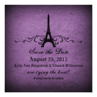 """Vintage French Flourish Save the Date 5.25"""" Square Invitation Card"""