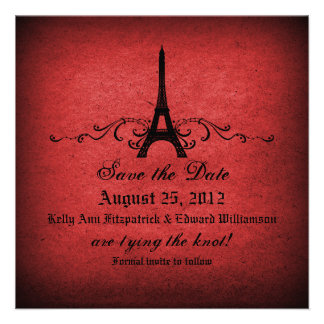 Vintage French Flourish Save the Date Personalized Invites