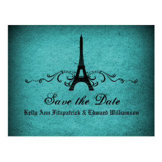 Vintage French Flourish Save the Date Postcard