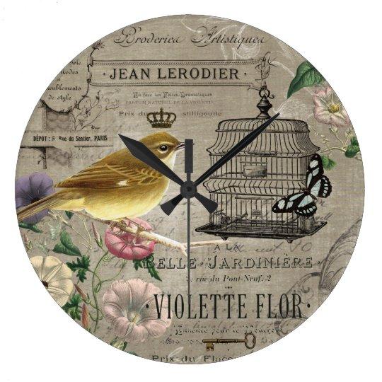 Vintage French garden bird clock
