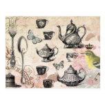 Vintage French Garden Tea Party postcard