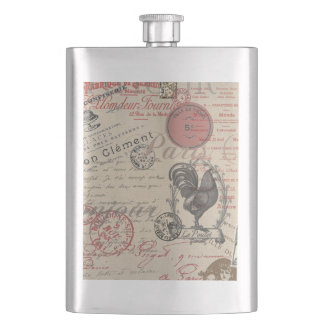 Vintage French Handwriting Paris Rooster Flasks